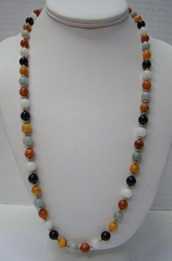 14k Yellow Gold Green Jade 8mm Bead Necklace 24 Quot Long