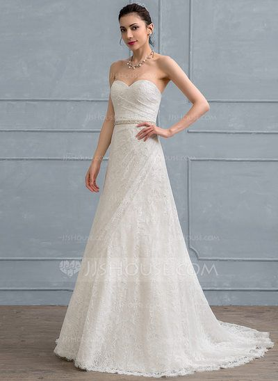 A-Line/Princess Sweetheart Court Train Lace Wedding Dress With ...
