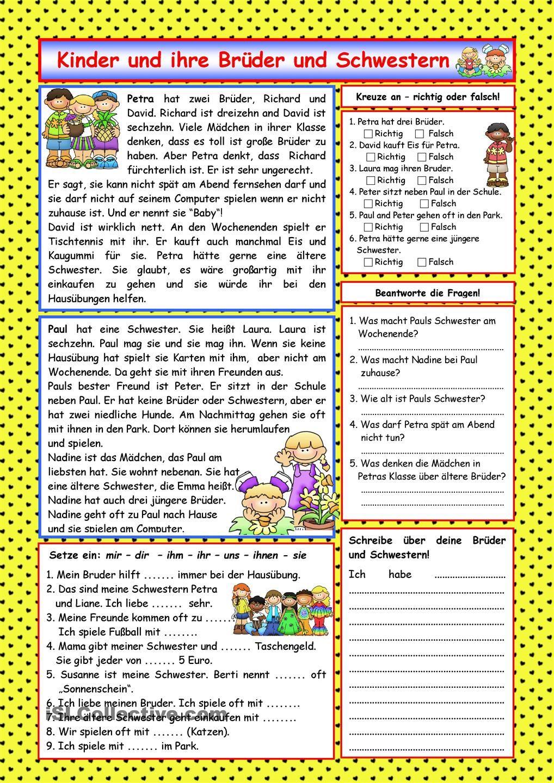 Kinder und ihre Brüder und Schwestern (+ Lösung) | Bildung ...