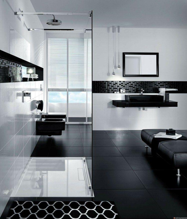 salle de bain élégante en noir et blanc | Salle de bain noir ...