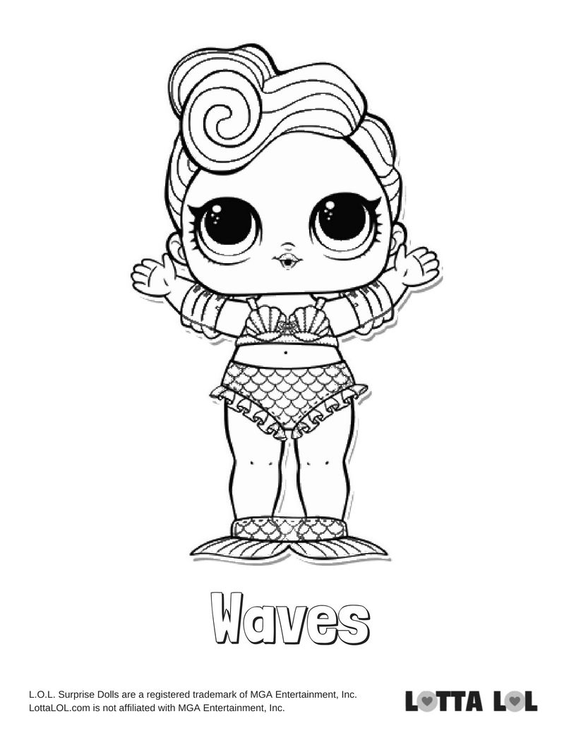 Waves Coloring Page Lotta Lol Lol Dolls Coloring Pages Kids Coloring Books