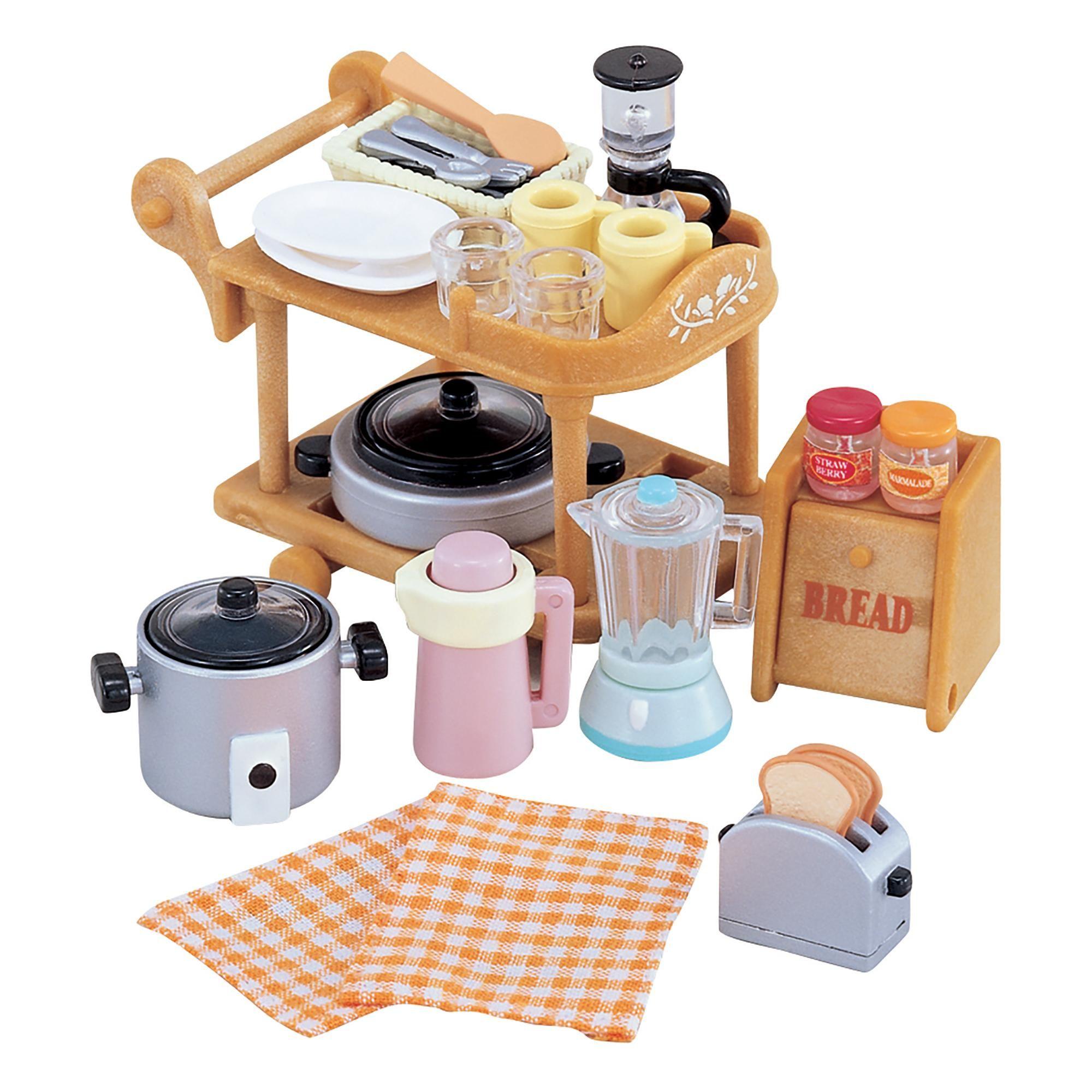 Sylvanian Families Kitchen Cookware Trolley Set Sylvanian