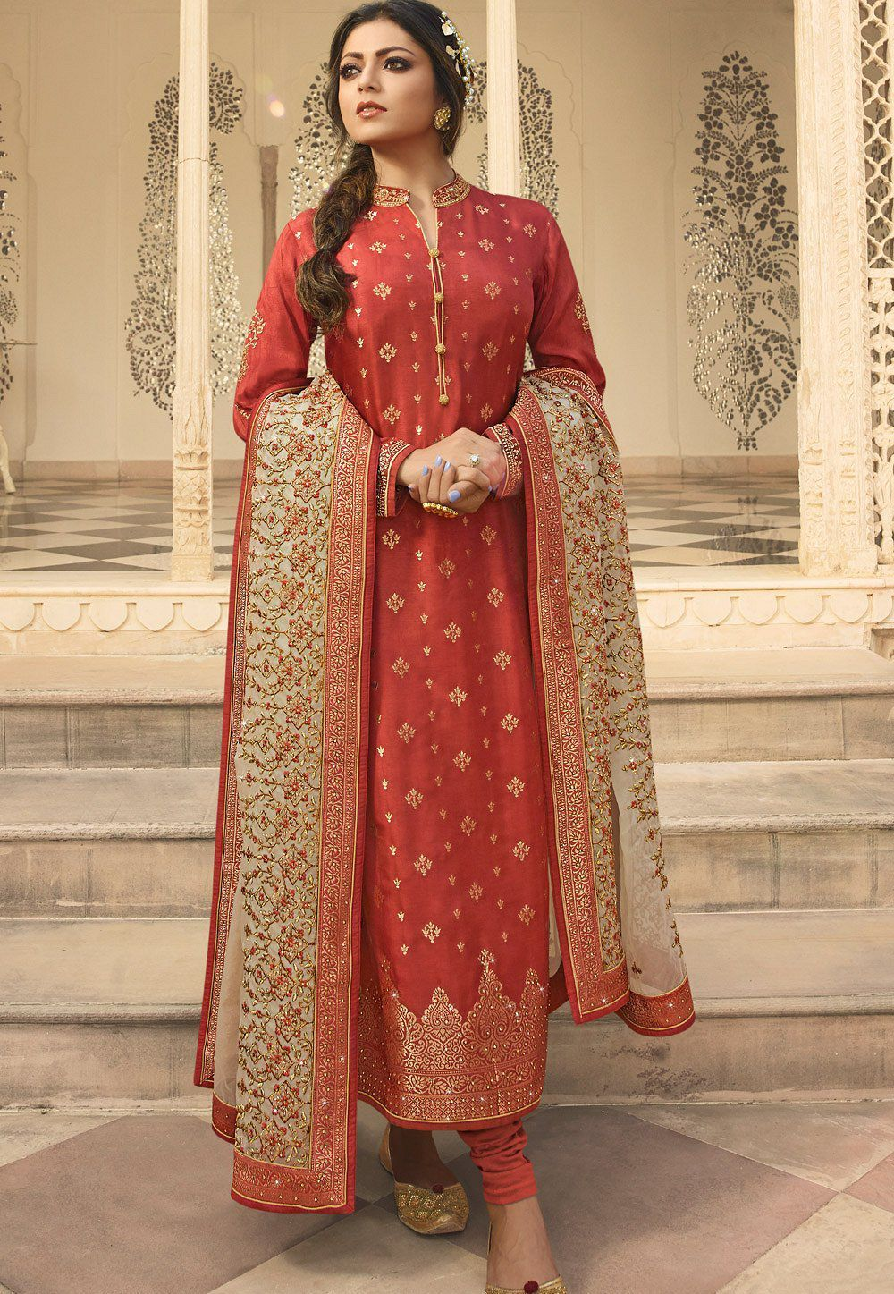 00ad5568c4 Orange jacquard embroidered straight churidar suit 3707 in 2019 ...