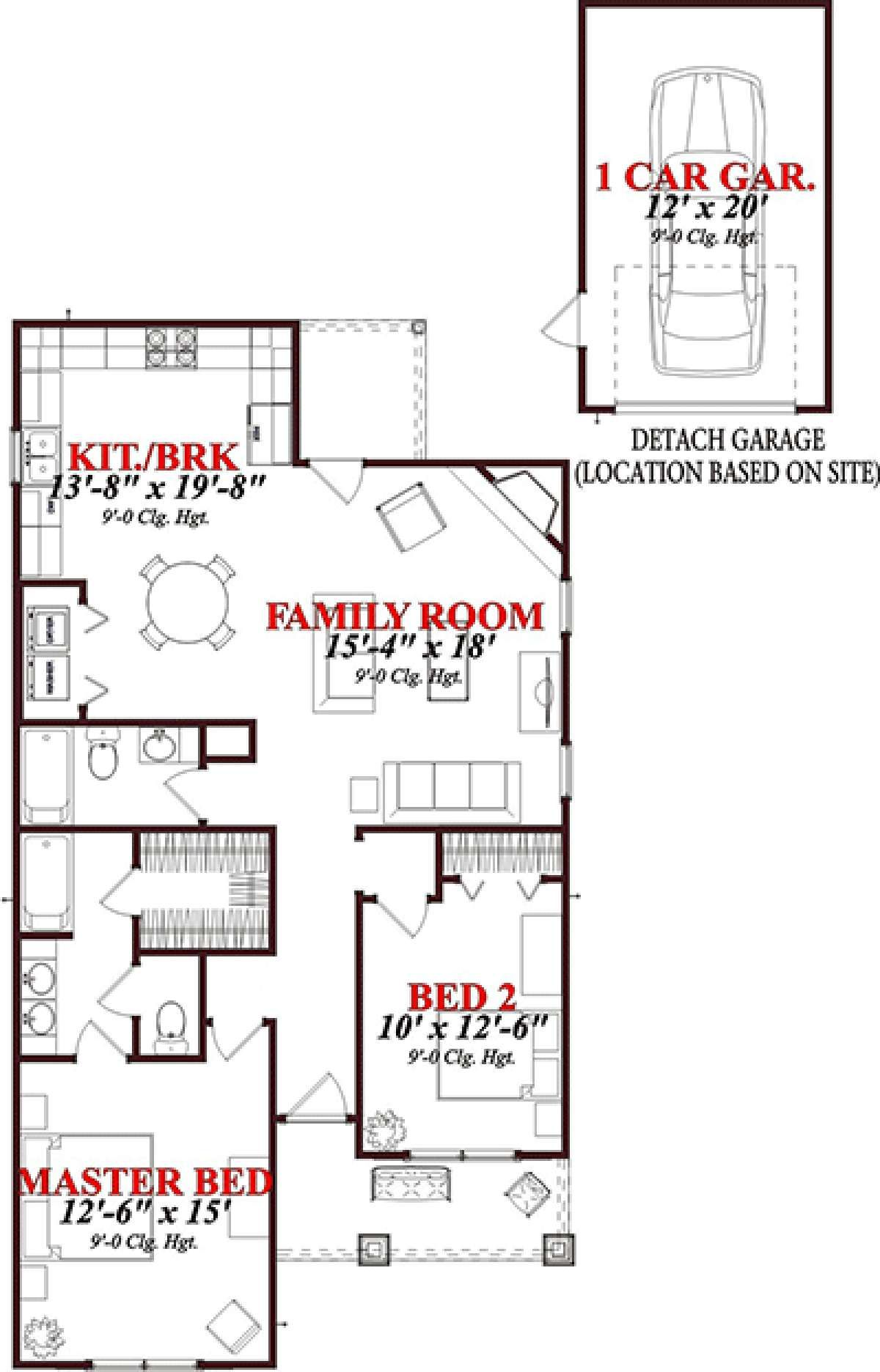 House Plan 1070 00155 Small Plan 1 205 Square Feet 2 Bedrooms 2 Bathrooms In 2020 Cottage Style House Plans House Plans Bungalow House Plans