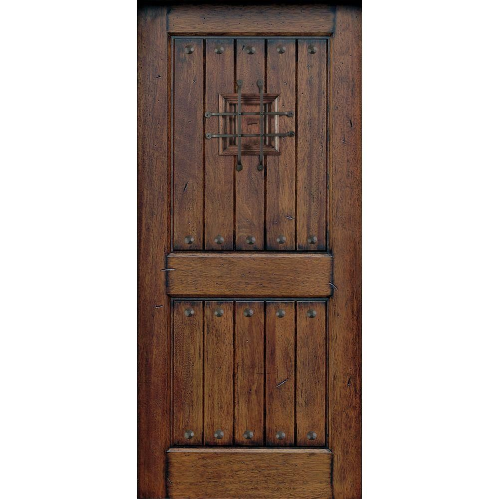 Main Door  Rustic Mahogany Type Prefinished Distressed Solid Wood Speakeasy Entry at The Home Depot Tablet 32 in x 80 V