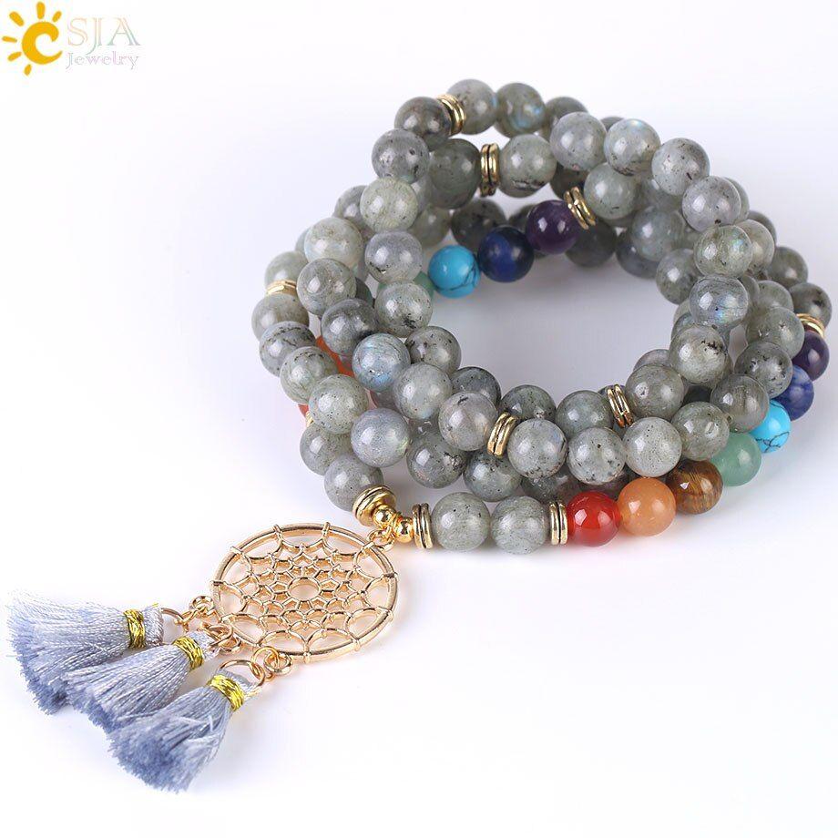 Csja japamala 108 mala beads 8mm natural stone bracelet dream catcher tassel charm bracelet chakra prayer rosary jewelry f484 #rosaryjewelry