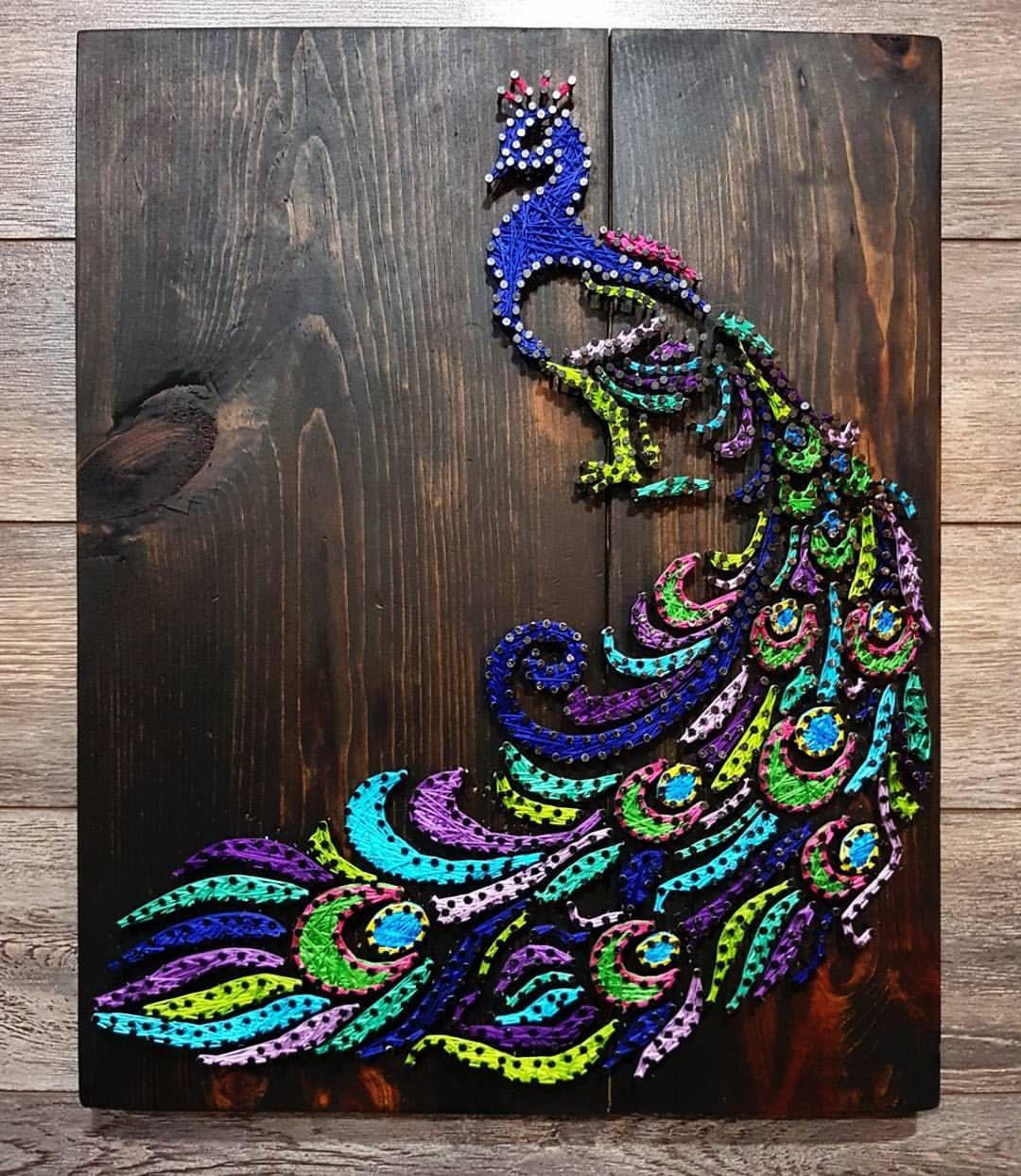 "Photo of Walnut Bank Designs on Instagram: ""Peacock 💜 #newlove #dreamcatchersbykelsie #sunflower #tractor #spring #stringart #crafts #summer #barnboard #handmade #homedecor # country…"""
