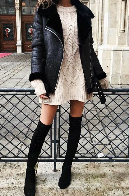 ba62a58a29 Cable knit sweater dress    over the knee boots    winter black coat     casual chic style