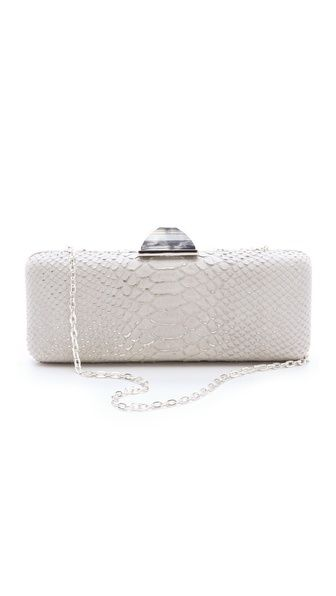 Overture Judith Leiber Jessica Snake Print Clutch- White after Labor Day, heck yeh!
