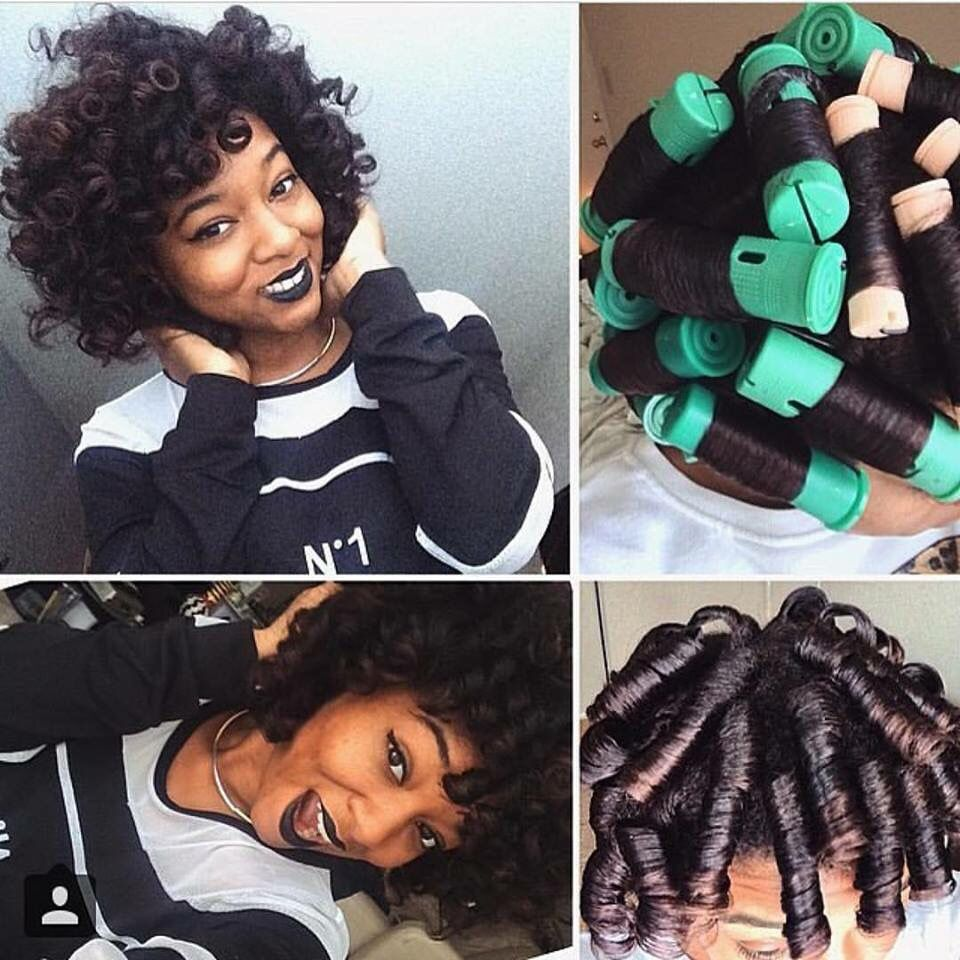 Roller set natural hair skin care hair care pinterest