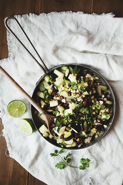 Corn, Zucchini, and Black Bean Salad- This is excellent. It was a great healthy side dish to our fajitas
