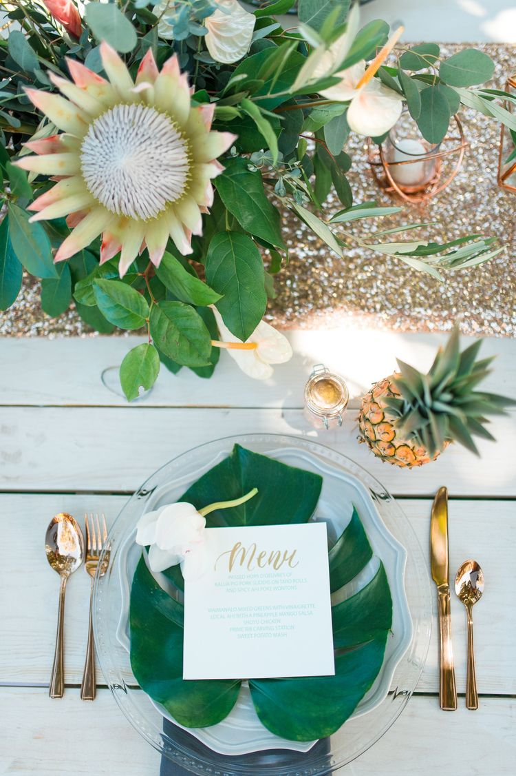 Tropical Destination Vow Renewal In Hawaii Wedding Table