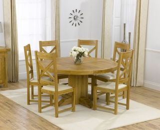 Wondrous Mark Harris Torino Solid Oak 150Cm Round Dining Table With 6 Andrewgaddart Wooden Chair Designs For Living Room Andrewgaddartcom
