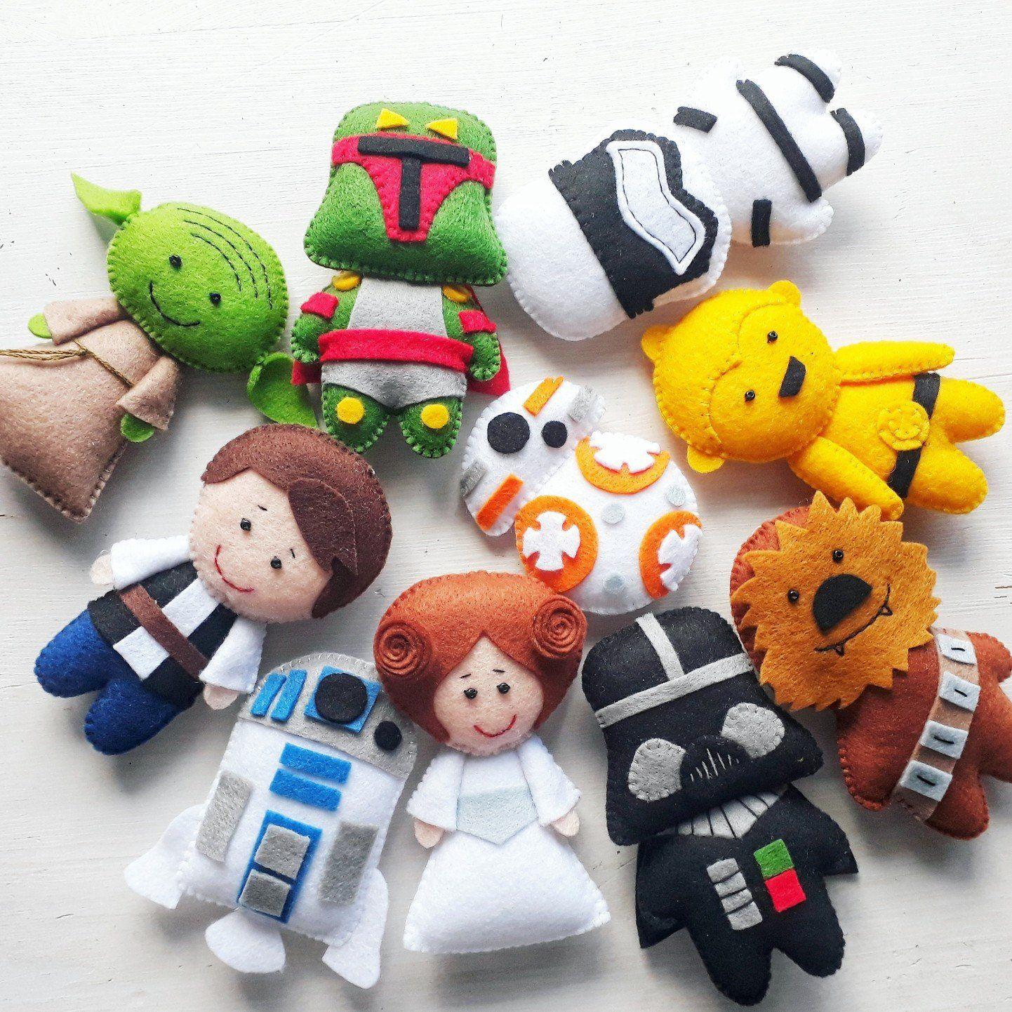 Star Wars Ornament Jedi Plush Princess Felt Doll Star Wars Etsy Star Wars Nursery Star Wars Christmas Ornaments Felt Dolls