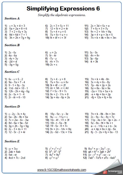 Simplifying Algebraic Expressions Traditional Maths