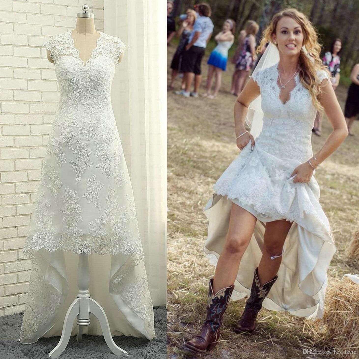 Cheap country lace wedding dresses  Cheap High Low Country Lace Wedding Dresses  V Neck Cap Sleeves