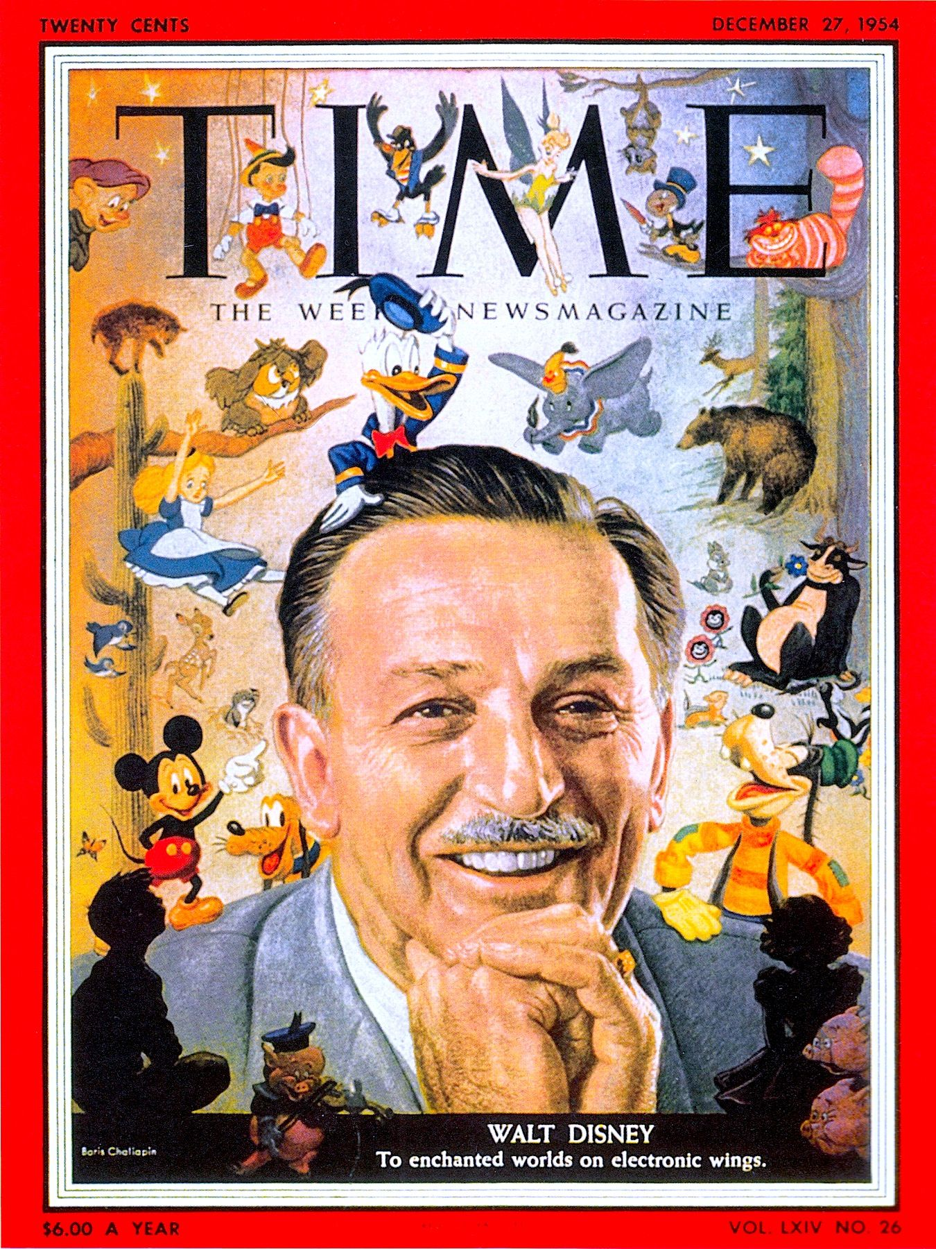 Cute drawing animal 183 kim kardashian at the beach 183 183 mom stress - Walt Disney On Time Magazine Cover Dec 27 1954 Illustration By Boris Chaliapin From