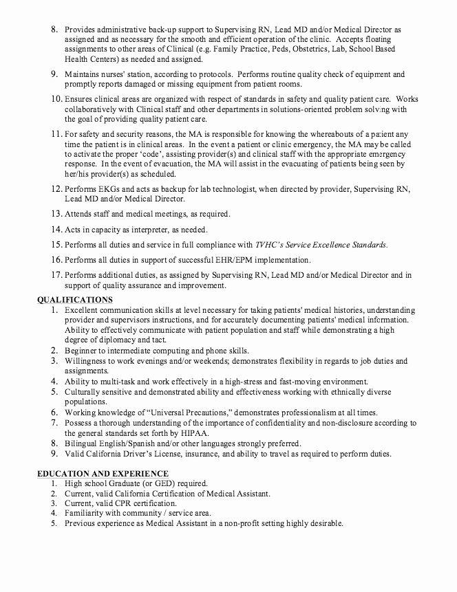 Concierge Job Description Resume Beautiful Medical