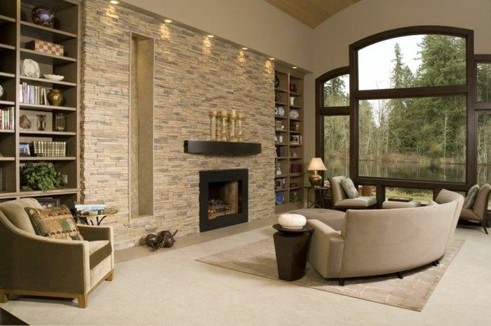 Living Room Wall Stone Fireplace Fancy Sofa Accent Wall