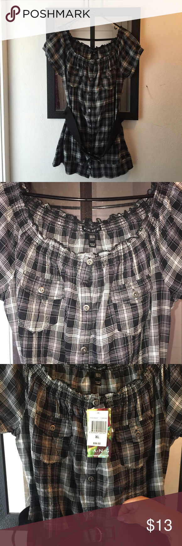 Tunic/Tee belted 100% cotton. Color: plaid, black gray and white. Brand: FANG from Kohl's Tops Tunics