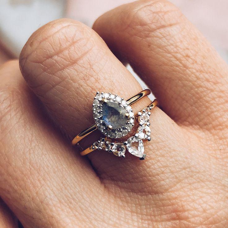 Ring mit Diamanten in Labradorit- und Birnenform – Neue Mode-Ringe
