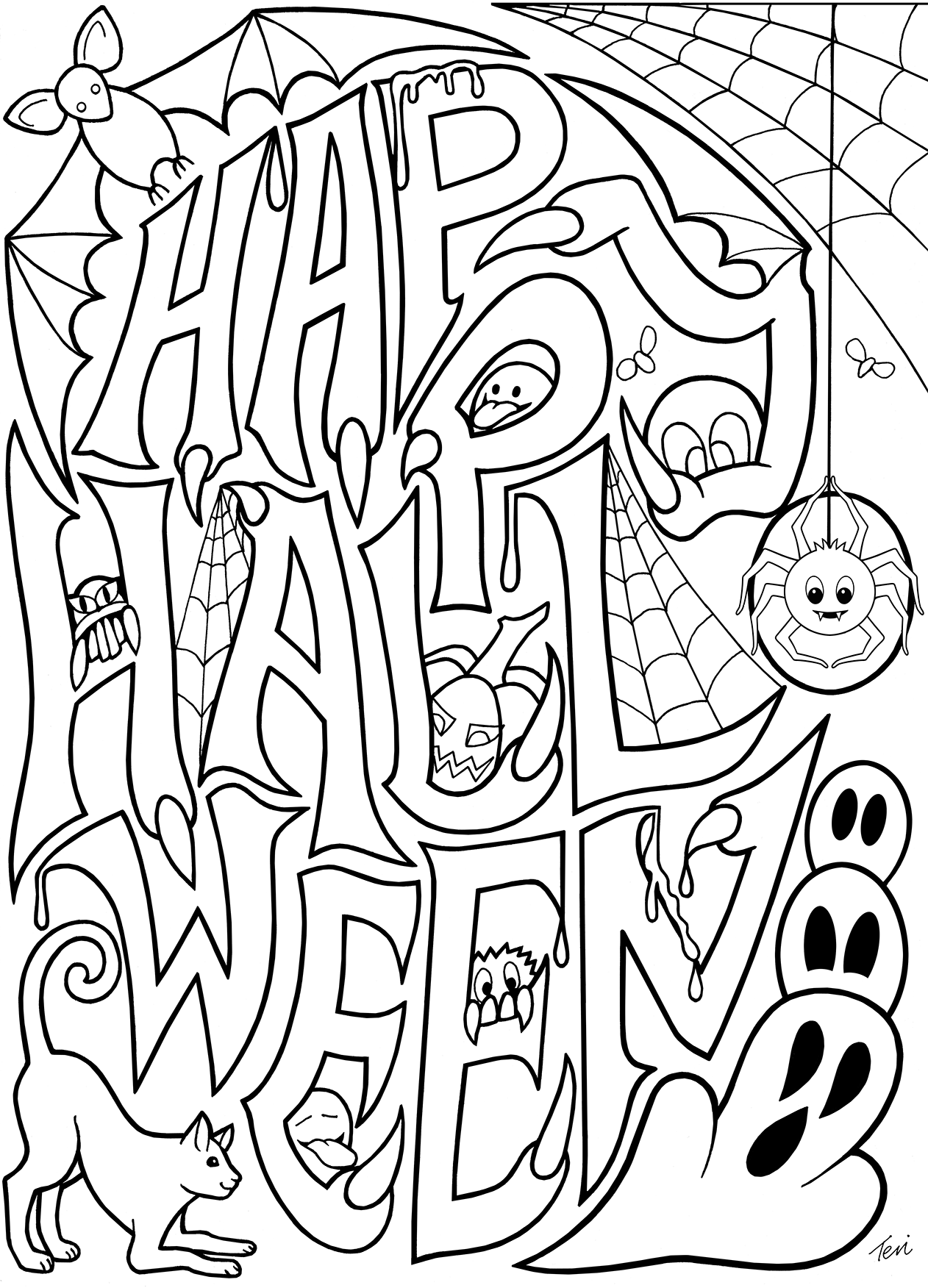 Free adult coloring book pages happy halloween by blue for Happy halloween coloring pages printable