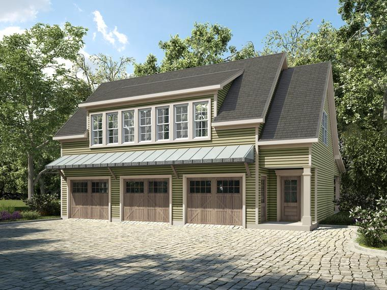 Garage plan 58287 contemporary country plan with 1234 sq for 2 story 3 car garage house plans
