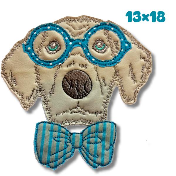Stickmuster - Hipster Hund Doodle 13x18 Stickdatei - ein Designerstück von GretevomLaendle bei DaWanda