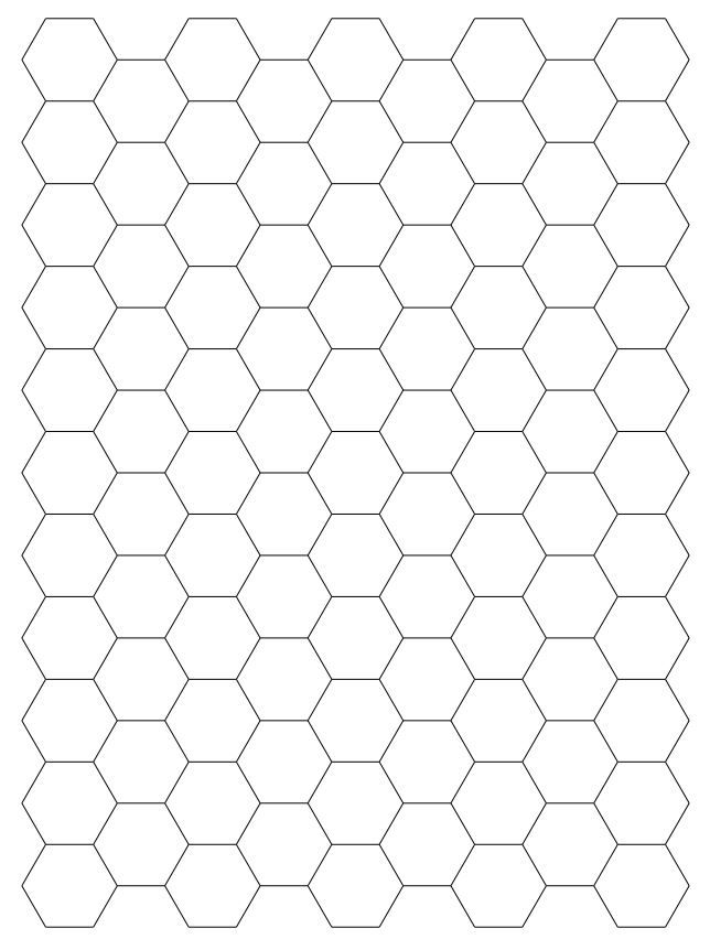 Hexagonal Printable Graph Paper  Hexagons    Graph Paper