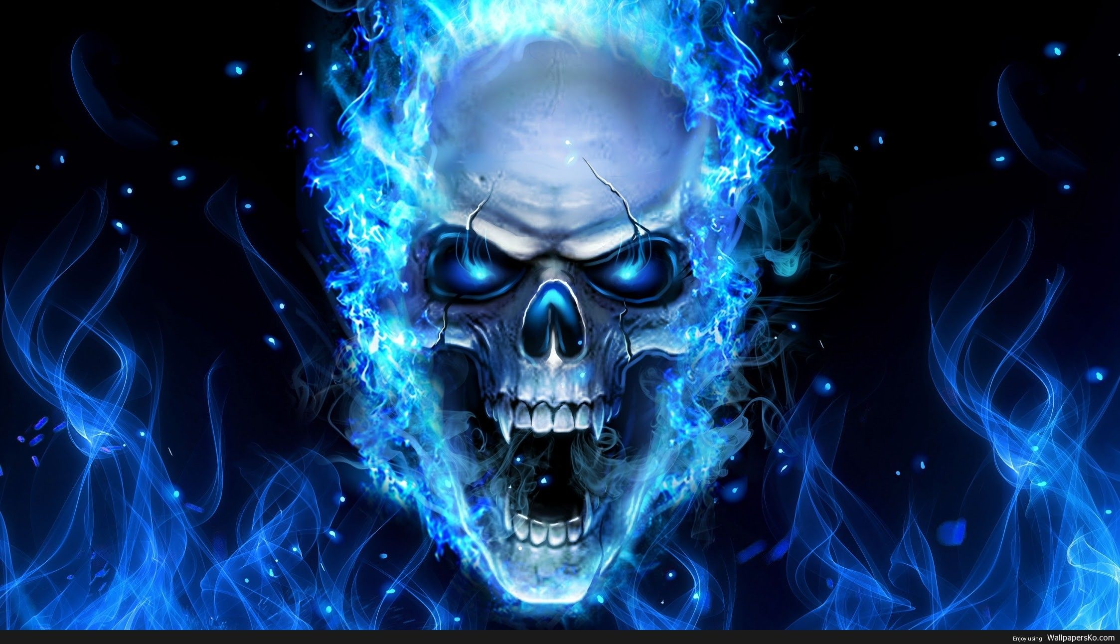 Skull On Blue Fire Http Wallpapersko Com Skull On Blue Fire Html Hd Wallpapers Download Skull Wallpaper Skull Artwork Skull
