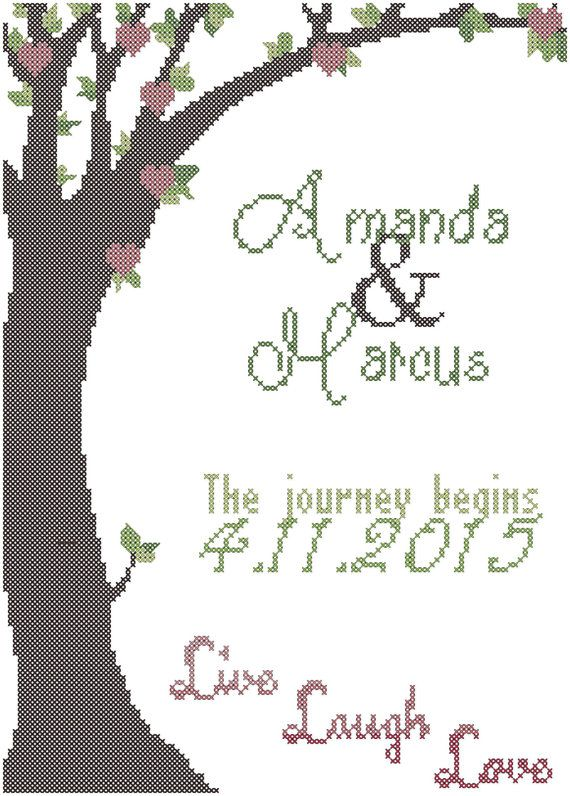 Spring Wedding Tree Cross Stitch Pattern, The journey begins cross ...
