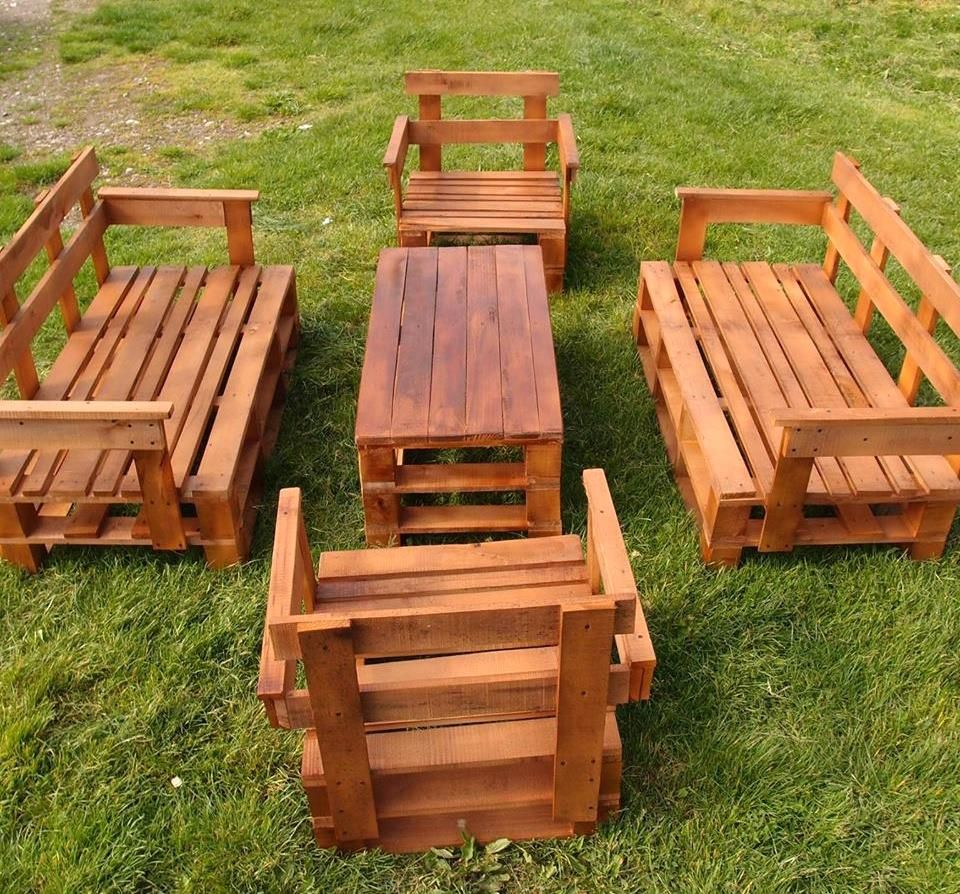 Pallet patio furniture set 45 easiest diy projects with wood pallets 101 pallet ideas part 4