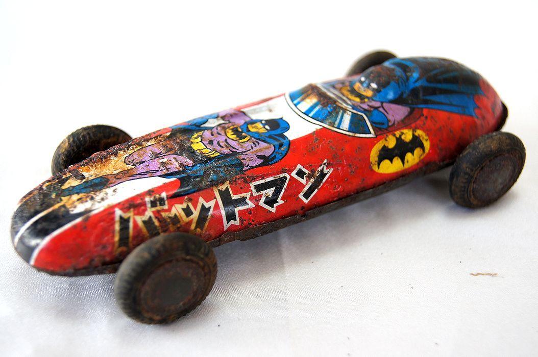 Japanese 1966 60s Batman Friction Racing Batmobile Vintage Car DH9E2IW