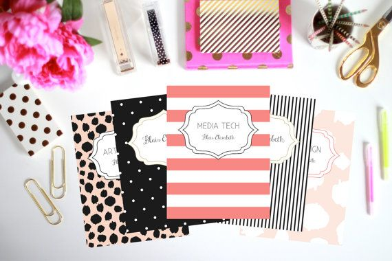 printable binder inserts set of 5 personalized by thepreppygreek