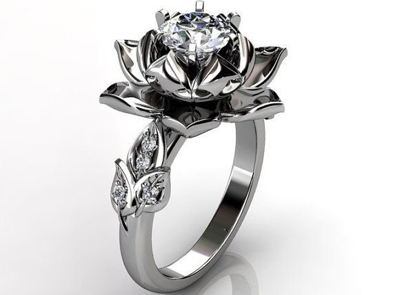 lotus flower engagement ring 14k white gold diamond unusual unique lotus flower engagement ring wedding ring anniversary ring er 1076 1 - Rose Wedding Rings