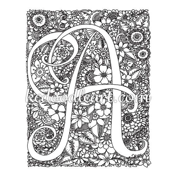 instant digital download  coloring page  Letter A with flower