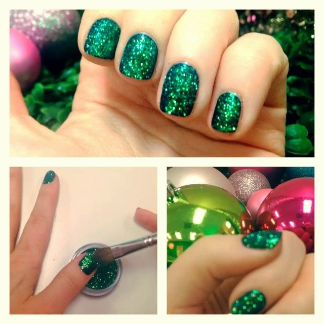 10 minute Christmas manicure using Capricorn glitter from limecrime.com! Just paint on a dark color and pat on glitter on top!  #Padgram