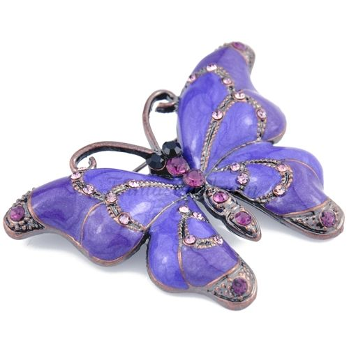 Vintage Purple Enamel Butterfly Pin Brooch