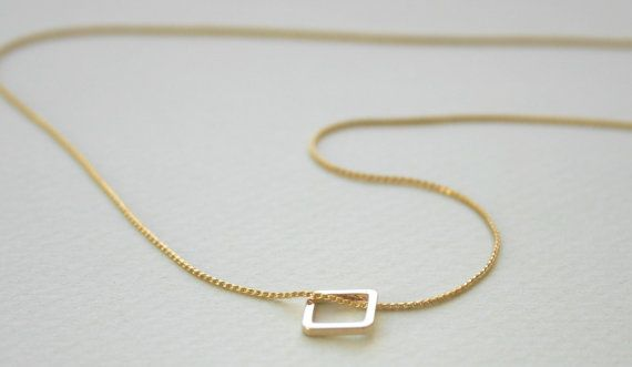 Tiny Square Necklace, Gold Necklace, tiny gold necklace, delicate necklace…