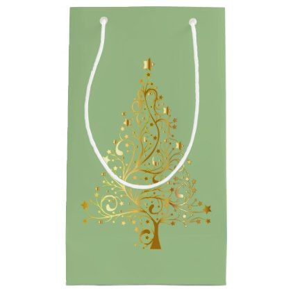 Golden Christmas Tree on Light Green Gift Bag - gold gifts golden customize diy