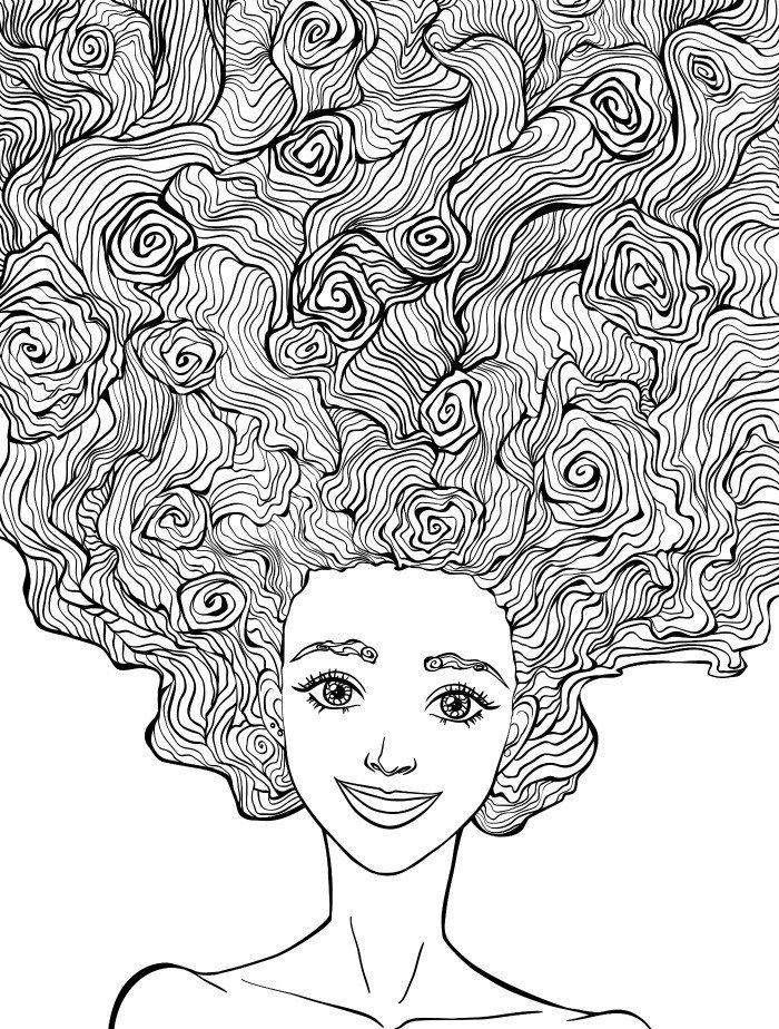 10 Crazy Hair Adult Coloring Pages - Page 10 of 12 | Adult ...