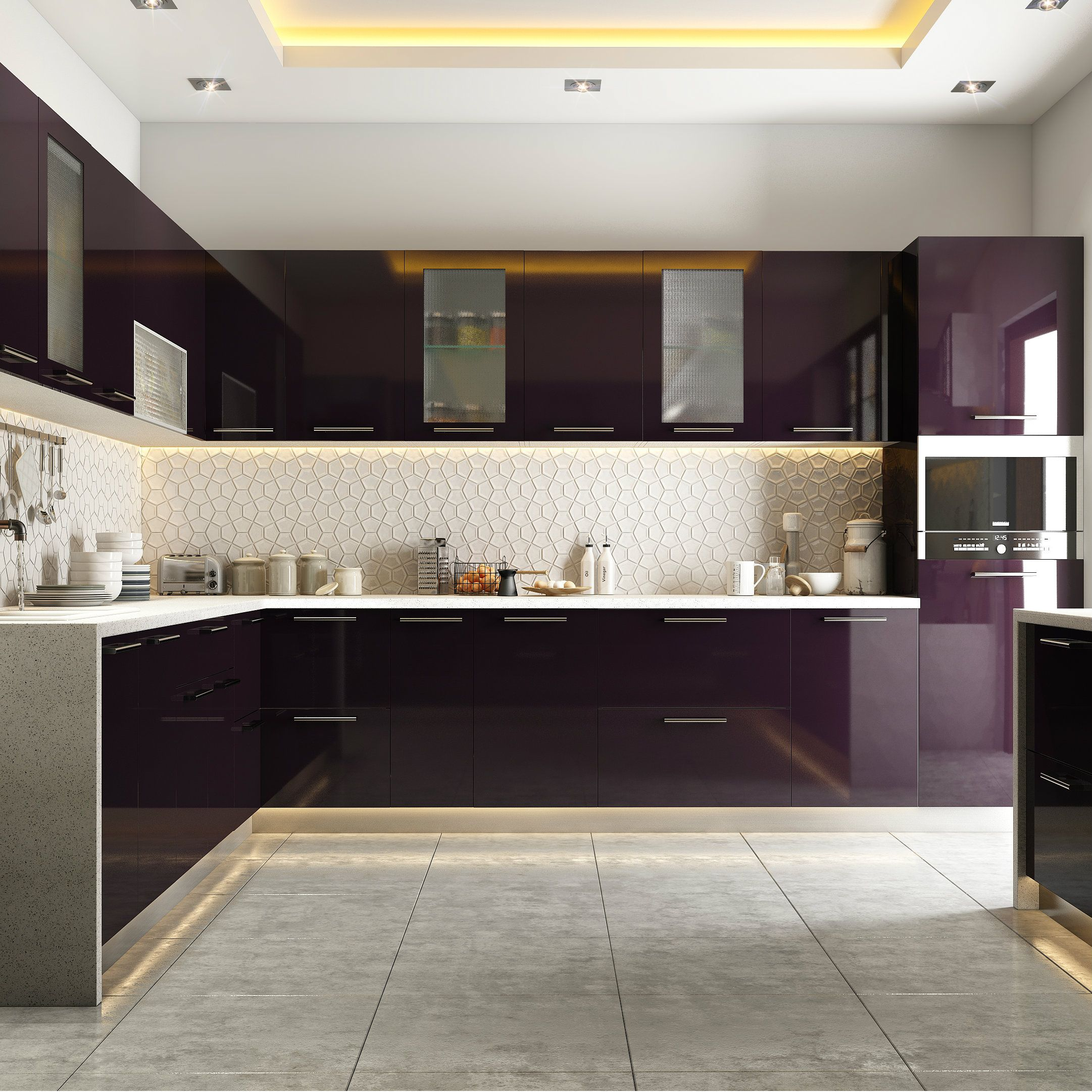 Wonderful Modular Kitchen Styled In Burgundy Hues