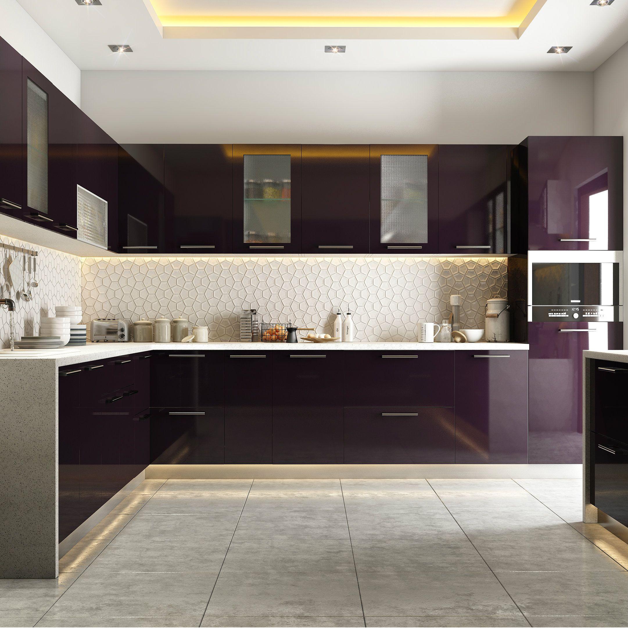 Modular kitchen styled in burgundy hues | Kitchen room ...
