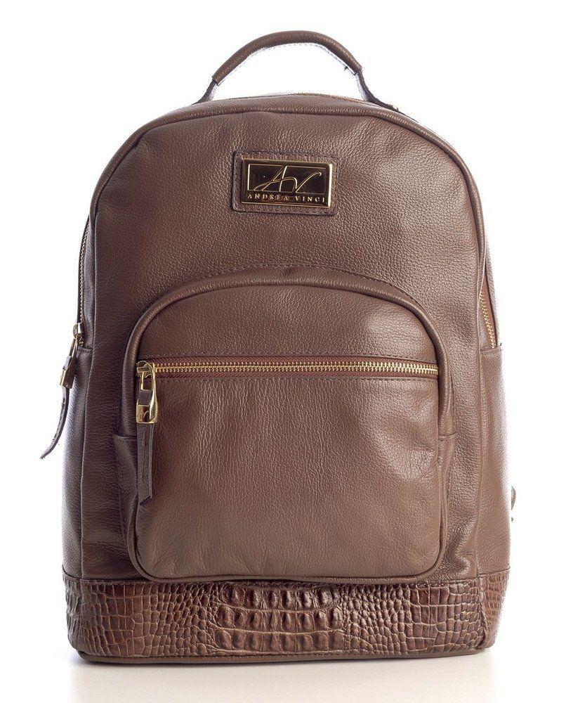 Mochila feminina de couro legítimo Andrea Vinci marrom - Enluaze - Bolsas,  mochilas, roupas e acessórios cd97314f4d