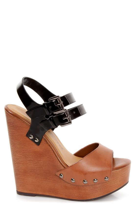 82b148878e14 Chinese Laundry Jungle Gym Cognac and Black Platform Wedges at LuLus.com!