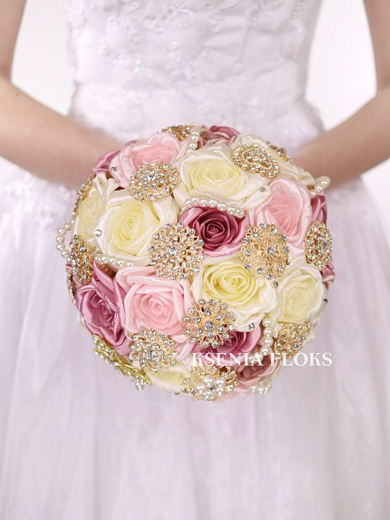 Gold Wedding Brooch Bouquet Blush Bouquet Vintage Bouquet Rose Gold