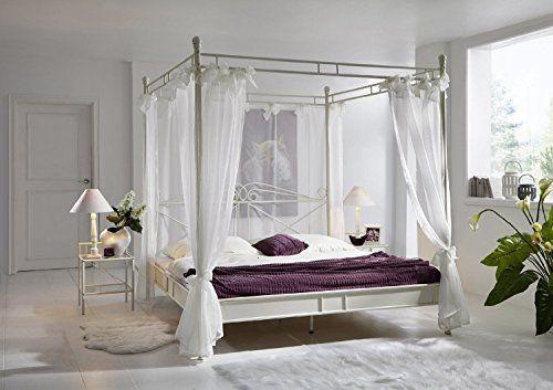 SAM® Design Himmelbett Venezia In Creme, Weißes Metall Bett, 140 X 200