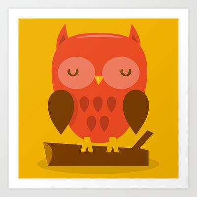 Super Cute Woodland Creatures Owl Art Print by totallyjamie - $14.56