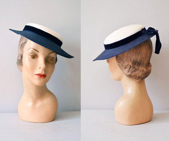 1950s hat   tilt 50s hat   vintage 50s hat   Le by DearGolden 434904aa820