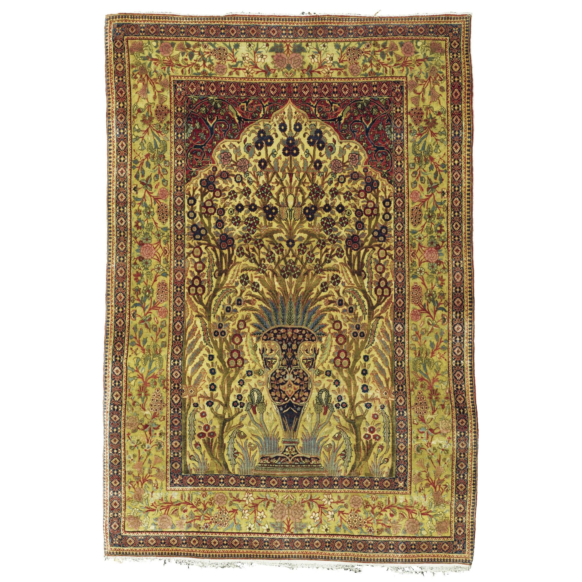 The Gheordez Prayer Rug Was Initially Created: A 'Mohtashem' Kashan Prayer Rug, Central Persia